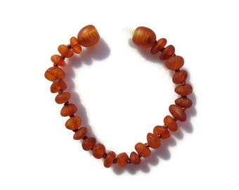 RAW Baltic Amber Teething Anklet, Amber Baby Anklet, Cognac Amber, Anti Inflammatory, Natural Teething Pain Relief, Drooling, SAFETY KNOTTED