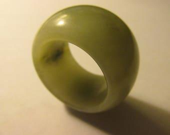 Chinese Milky White Jade with Grayish Green Veins Archer Thumb Ring Pendant, 30mm