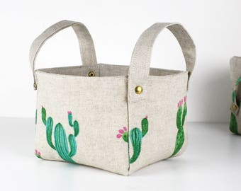 """Tidy """"cactus"""" pattern small flax and natural cotton cactus"""