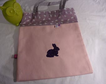 Tote bag girl rabbit personalized purple pink gray theme