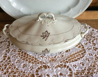 Antique stoneware Baker and Co Tea Leaf pattern vegetable serving dish ironstone nice old condition