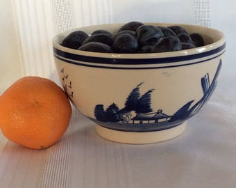 Vintage Delft blue Dutch windmill sailboat hand painted ceramic ironstone bowl
