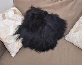 "Genuine icelandic sheepskin Pillow Alpaca filled.14x14. Fur side 20""x20"". Black PW 18"