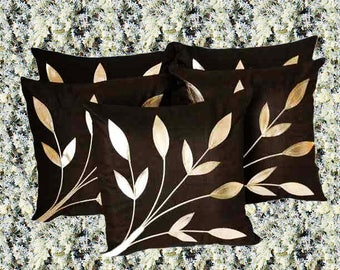 New! Black Cushions Cover with Silver Embossed Leaves  (Pack of 2, 40 cm*40 cm, Black)