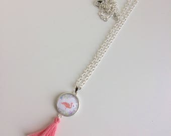 Flamingo necklace and coral tassel necklace