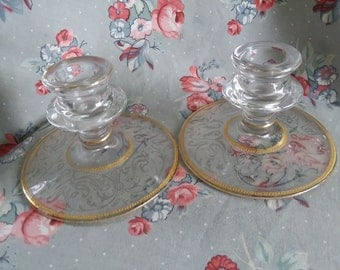Vintage Etched Glass Candleholders Pair