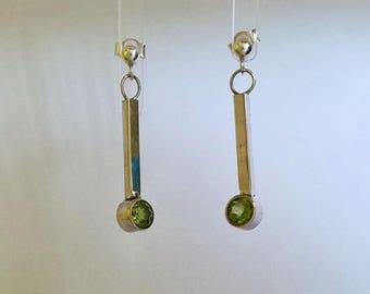 Peridot and Silver Drop Earrings