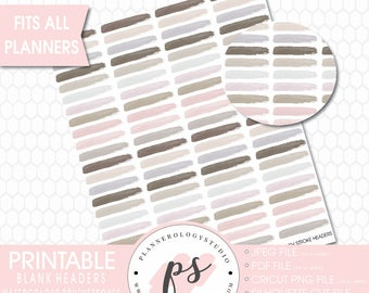 Watercolour Brushstrokes Blank Headers Printable Planner Bujo Stickers (JPG/PDF/Silhouette Compatible Cut File)