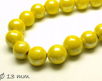 10pcs porcelain beads Ø 13 mm mother of Pearl yellow