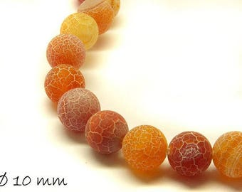 10 pcs matte cracked agate beads, 10 mm, brown yellow