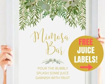 Greenery Bridal Shower Printable, Mimosa Bar Sign , Gold Bridal Shower Decor, Greenery Wedding, Garden Wedding Printable #IDWS604_55S