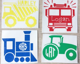 boy decal, tractor, fire truck, train, dump truck, choo choo, back to school, Decal, Customized Decal, Car Decal, Yeti Decal, Laptop Decal