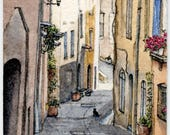 """ORIGINAL Miniature Ink and Watercolour Painting (2018) - """"Provençal Street Life"""" (Provence, France)"""