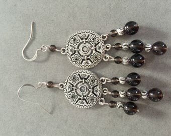 Smoky Quartz and Silver earrings