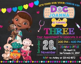 Doc McStuffins Pet Vet Invitation Printable, Doc McStuffins Pet Vet Birthday Party, Doc McStuffins Invitation