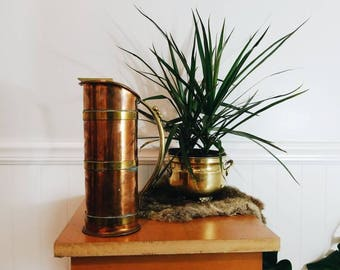 copper pitcher, copper and brass pitcher, copper vase, brass vase, gardening gift, gift for gardener, gift for mom