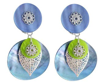 Earring clips One blue (made in France)