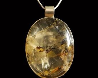 Dendrite quartz and silver pendant
