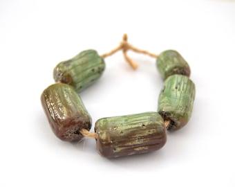 5 Raku Beads, Handmade Ceramic Beads, Rustic Beads, Green Beads, Tube Beads, Clay Beads, Jewelry Supplies
