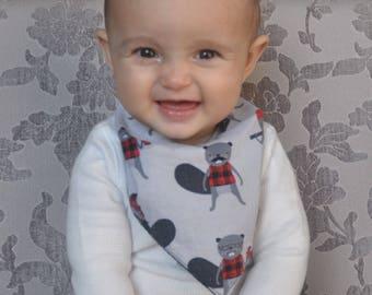 Bibdana Baby Bib, Black, Red & Grey, Burly Beaver Bandana, Unisex Baby Gift, Hipster Bandana Bib, Modern Baby Bibs, Baby Shower, Canadiana