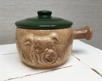 Vintage SYLVAC Pork Dripping Face Pot 4903 (green lid )