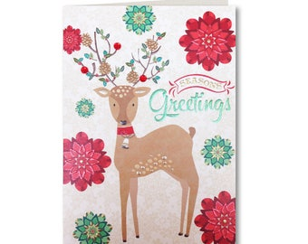 50% OFF - Merry Christmas - Happy Christmas - Seasons Greetings - Deer - EV01 - Evergreen Collection