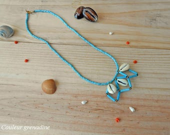 Geometric ethnic necklace turquoise beads and shell, gift idea mother grandmother, Easter