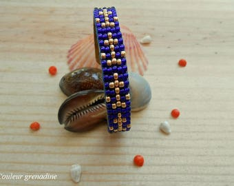 Anchor Bangle Bracelet woven beaded Blue Gold pattern, gift idea party a grand mothers, Easter
