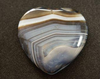 GEMSTONE fome grey agate heart PENDANT