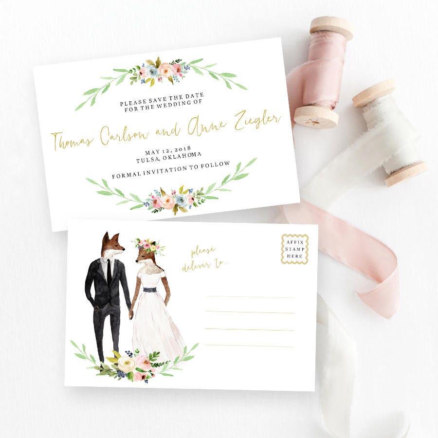 Rustic Woodland Wedding Invitation, Printable wedding suite, Summer ...