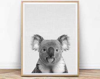 Koala Wall Art, Koala Print, Koala Printable, Peekaboo, Black and White, Nursery Wall Print, Animal Printable, Animal Art, Printable Art