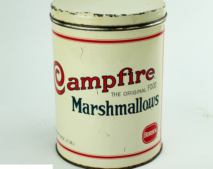 Vintage Tin Containers | Campfire Marshmallows Tin | Borden's Tin | Metal Storage Tins