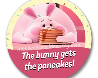 "Wreck it Ralph 2 ""The Bunny gets the Pancakes!"" Inspired 3"" Disney Parks Celebrations Pinback Button"