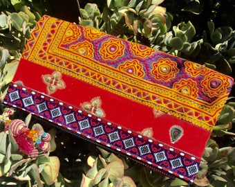 Hand Embroidered, banjara, tribal, Clutch purse large - handmade bags - vintage material, medium purse - fold over clutc