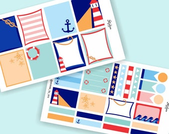 A LA CARTE Nautical Stickers / Planner Stickers, Vertical Planner Stickers for use with Erin Condren LifePlanner™