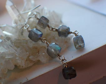 Labradorite Earrings- Gemstone Earrings-Labradorite Jewelry-Dangle Earrings-925 Silver Earrings- Gemstone Jewelry,
