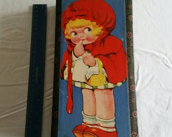 antique little red cap / riding hood fairy tales litho blocks puzzle set by herman eichorn 1950's germany - toy building photos art cubes