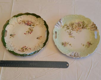 "2 antique porcelain 9"" cake plates w/ double handles - embossed hand painted gold trim floral flowers platters trays red roses kitchen art"