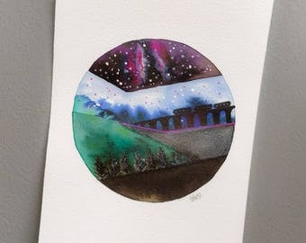 Astronomy Night Sky watercolour piece. Original, not a print. A4. Inspired by Calstock Viaduct, Forests, the Night sky & snow.