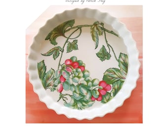 Philippe Deshoulieres Vendanges Patrick Frey Green Pink Impressions De Paris Porcelian Quiche Pan