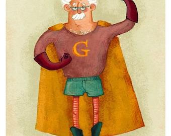 """""""Georges"""", carte postale de la collection """"les papys mamies super-héros""""."""