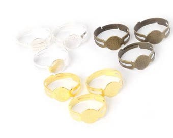 5 cabochon ring bases are adjustable in 3 colors