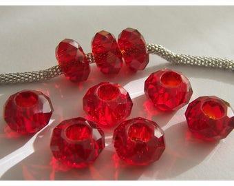 1 bead has facet to light red Pandora bracelet
