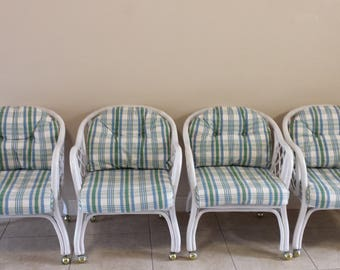 Ficks Reed Bamboo Cane Back set of 4 Chair with casters