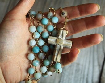 SALE -10% Rosary with Cross River stone, pearls from genuine Amazonite and brass wire