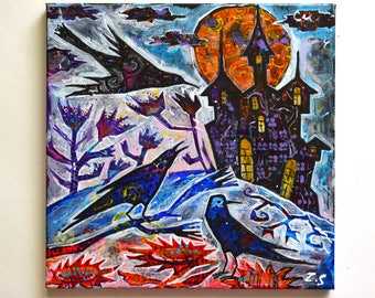 Halloween gift painting Painting on canvas Acrylic painting original Original acrylic painting Halloween Painting crows original art acrylic