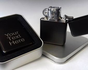High Quality Engraved Matt Black Petrol Lighter with personal message
