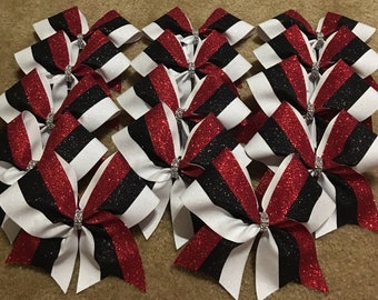 Black Red and White Cheer Bows