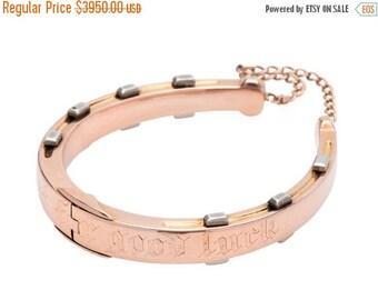 ON SALE Edwardian Horseshoe Bangle Bracelet | Equestrian Horse Antique Bracelet | Vintage Good Luck English Rose Gold  || 16886