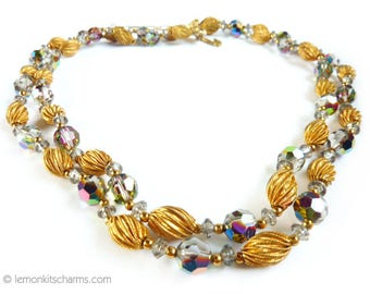 Vintage Goldtone Crystal Beaded Necklace, Jewelry 1950s Mid-century, Double Multistrand, Gold Rainbow Vitrail, Evening Style Classic